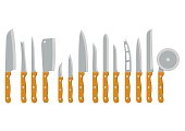 Set steel kitchen knives carving, paring, utility tool cooking equipment