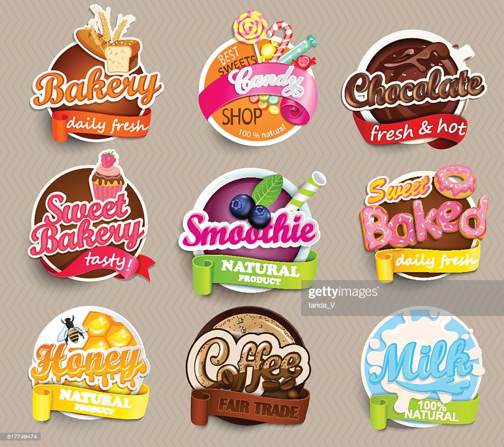 Set stickers of food.