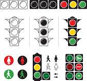 Set stylized illustrations of traffic light with symbols