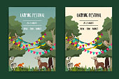 Set summer open air festival graphic poster with animals. Deer, wolf and fox. Vector illustration.