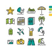 Set summer vacation linear colored icons