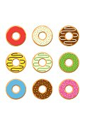 Set sweet colorful donuts isolated on white background