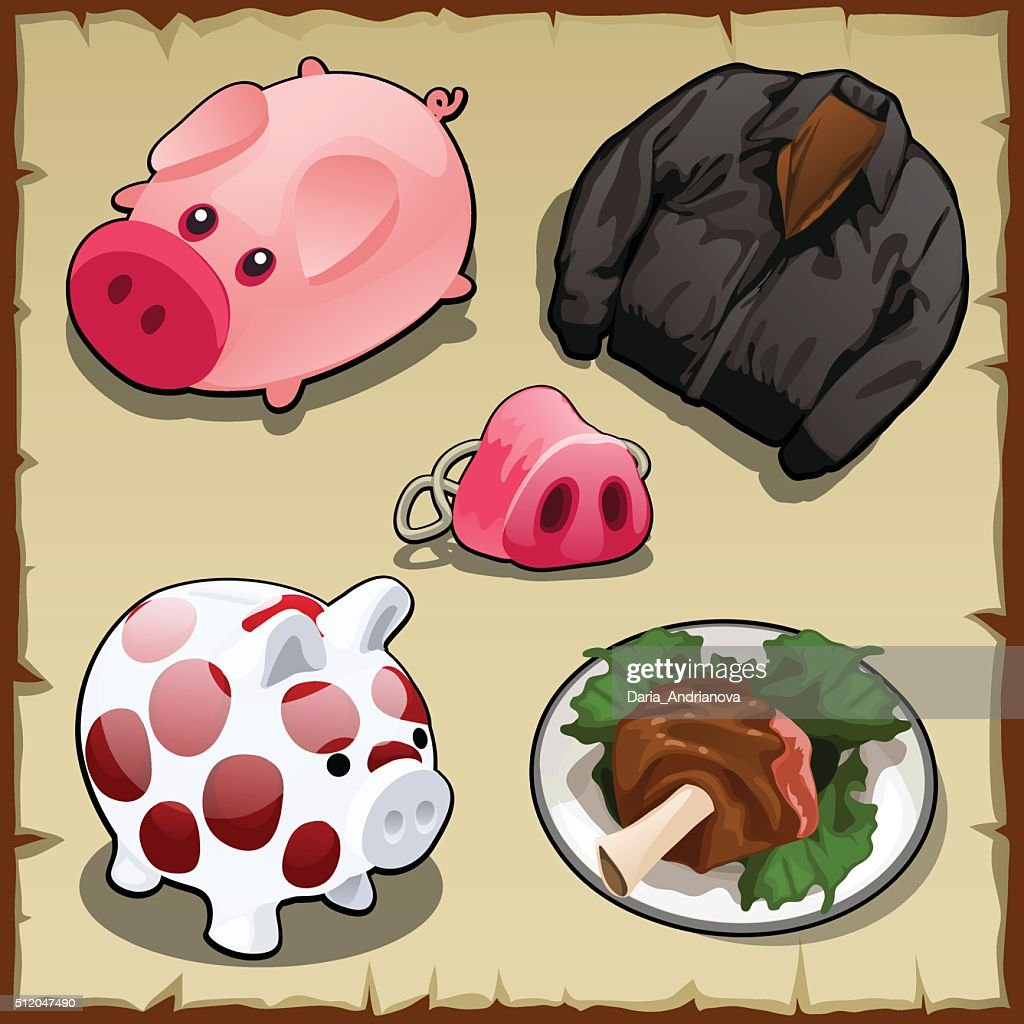 Set symbolism of pigs in different types, 5 items