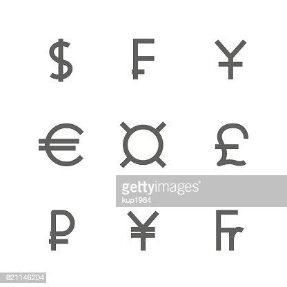 Set Symbols Of World Currencies Vector Illustration Vector Art