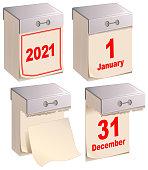 set tear calendar isolated white blank