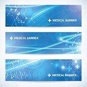 set technology medical banner background for web or print