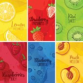 Set template design banners, cards, flyers with fruits and berries