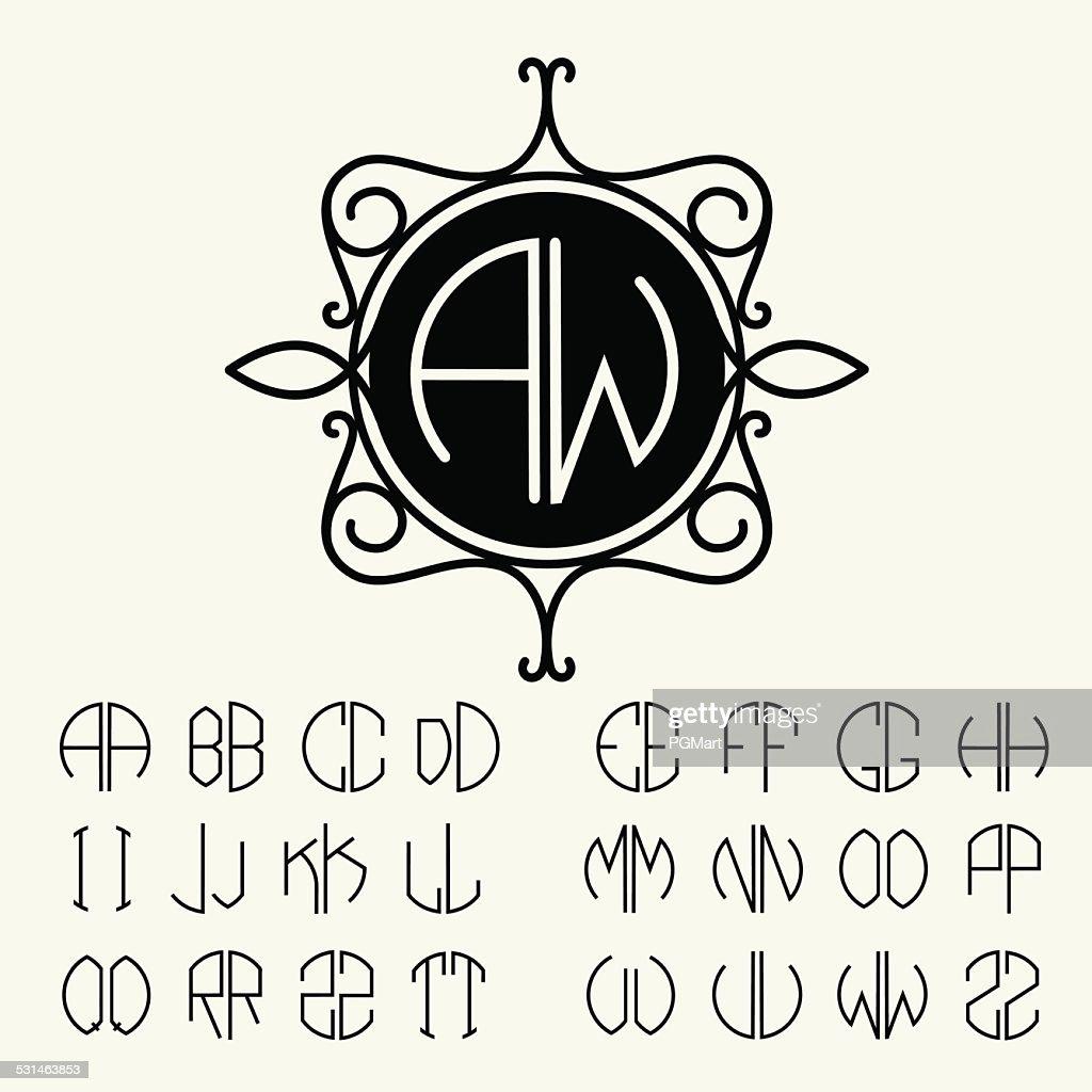 Set  template  monograms of two letters Art Nouveau style