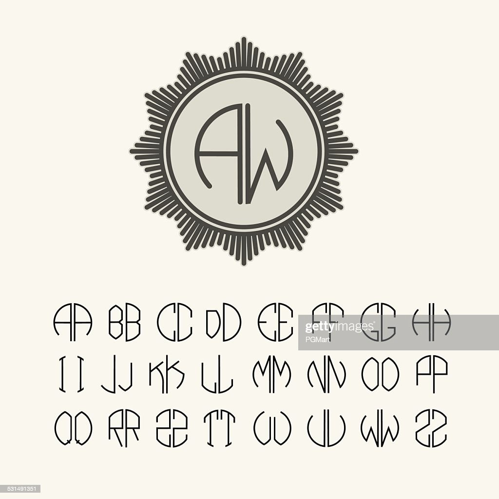 Set  template  monograms of two letters Art Nouveau style