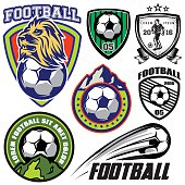 set template sports logos and design elements on theme football