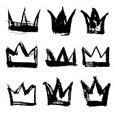 Set texture strokes thick paint in the form of a crown isolated on white background