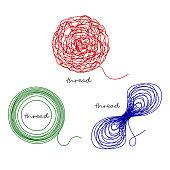 Set thread ball and ravel logo element
