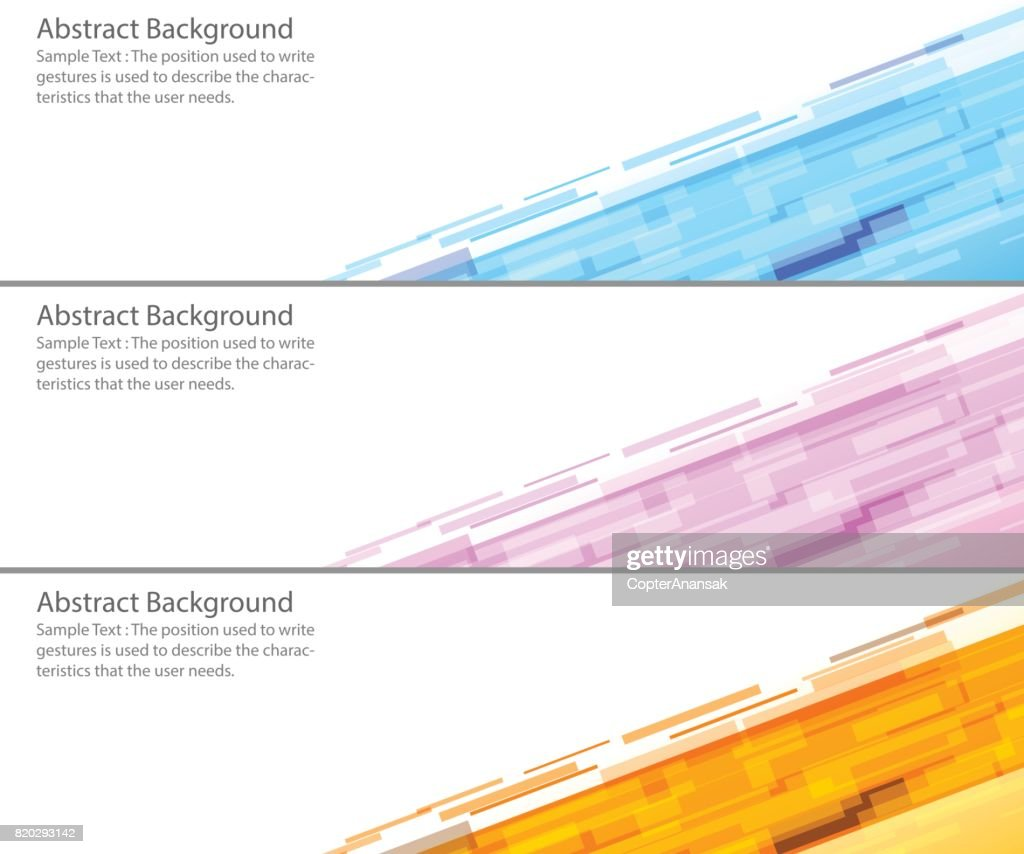 Set three abstract modern banner texture. Vector banner background for web banner design.