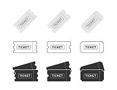 Set Ticket icon on white background. Vector illustration.