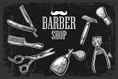 Set tool for BarberShop with logotype