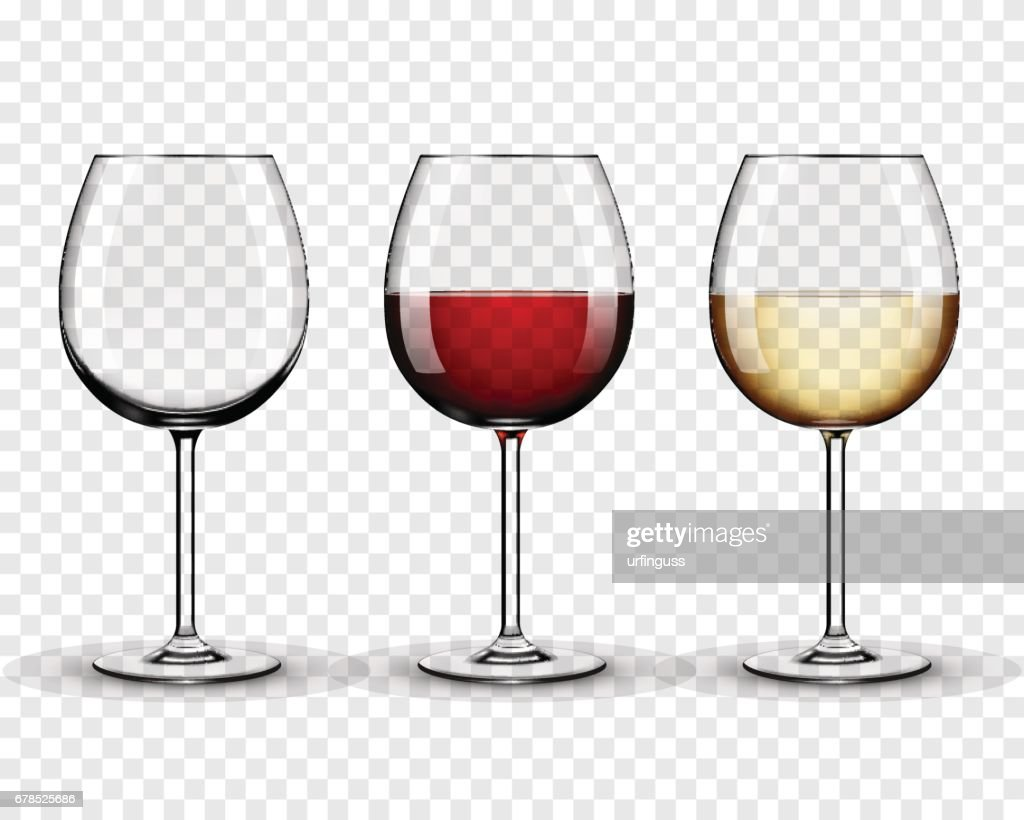 Set transparent vector wine glasses empty, with white and red wine on transparent background