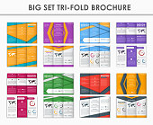 Set triple folding brochures in the style of the material