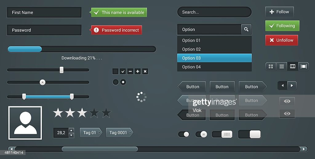 Set UI elements for Web site. Vector User Interface
