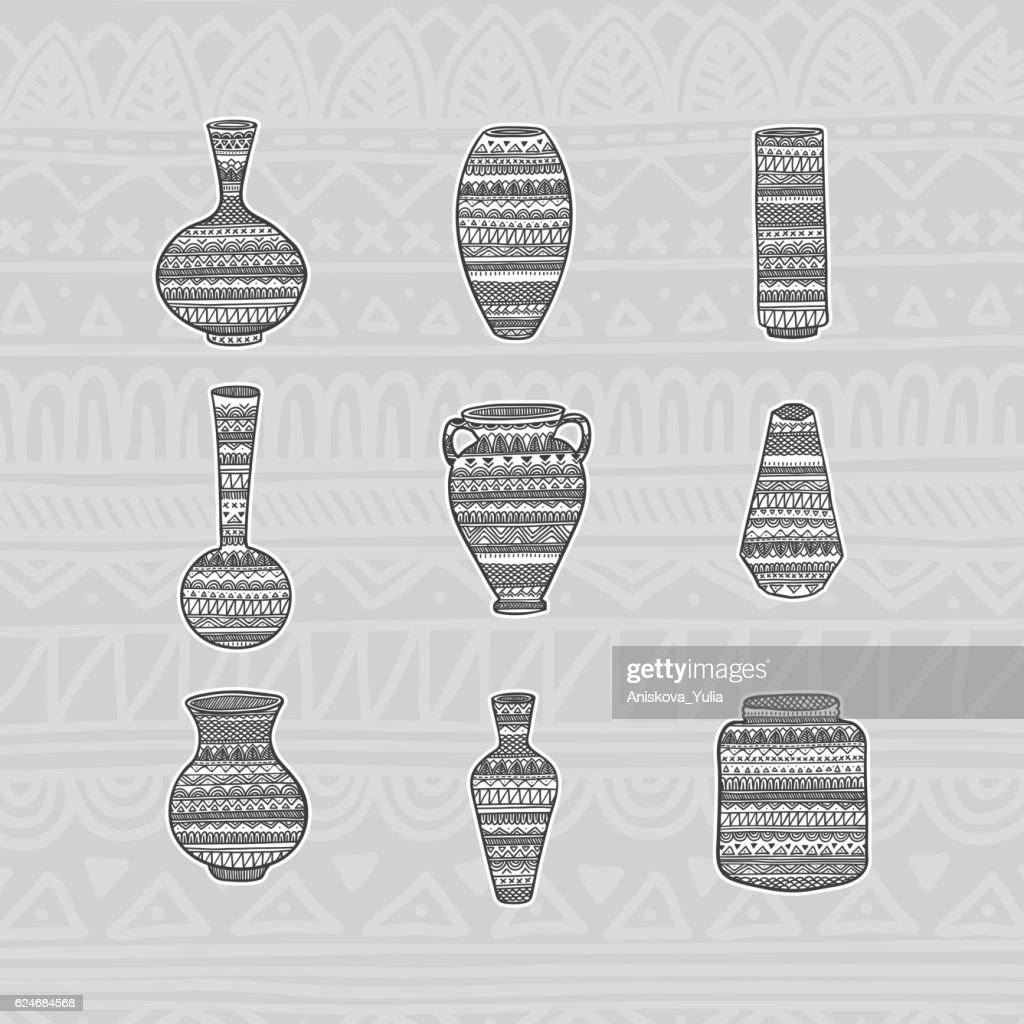 Set vases with ethnic pattern. Hand drawing. Vector illustration.