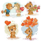Set vector clip art illustrations of enamored teddy bears
