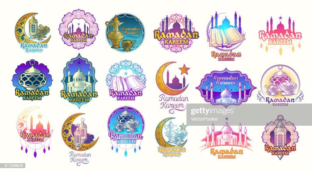 Set vector color illustrations, badges, emblems for Ramadan Kareem.
