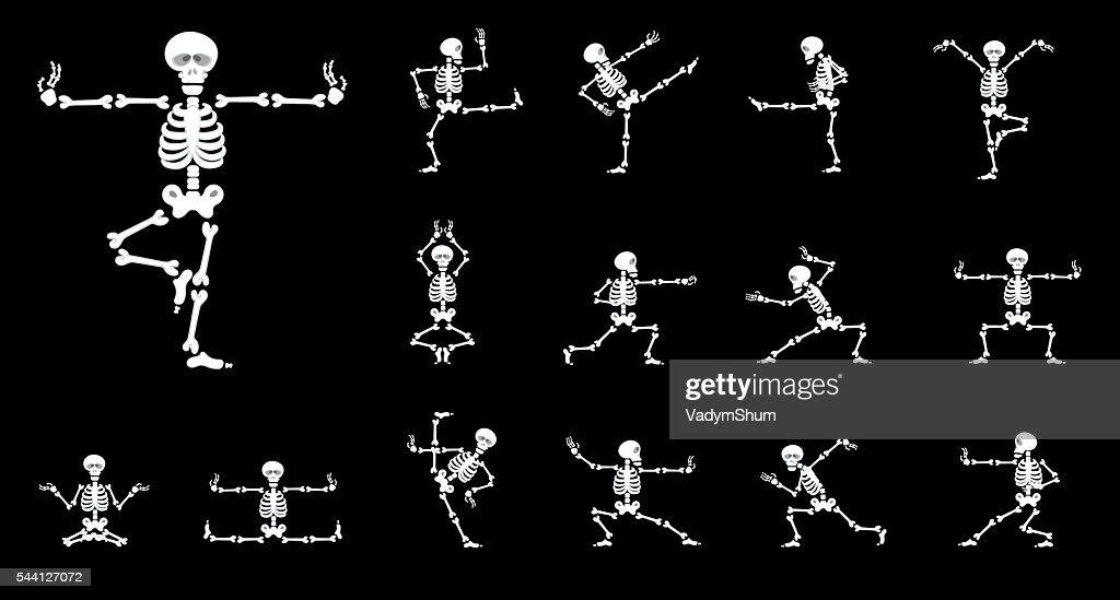 Set vector design elements: funny skeletons - kung fu