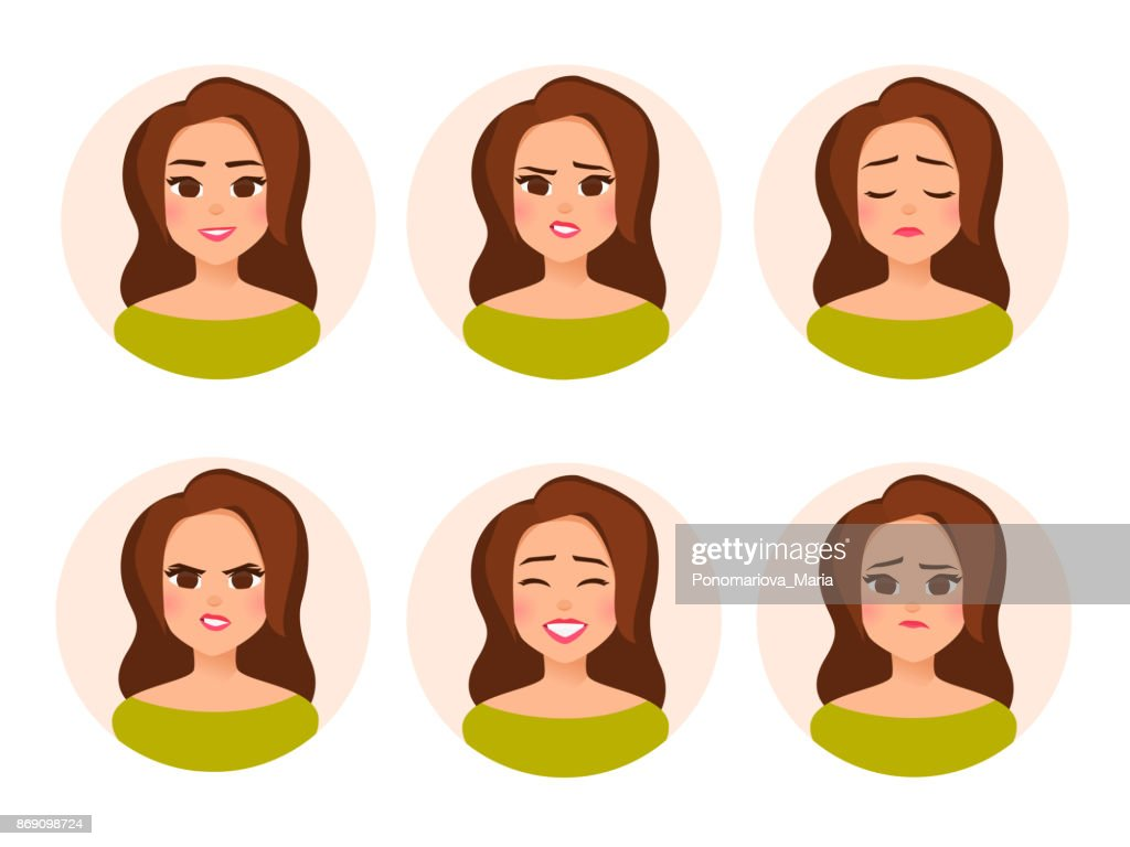 Set vector female character avatar with different facial expressiions in cartoon flat style.