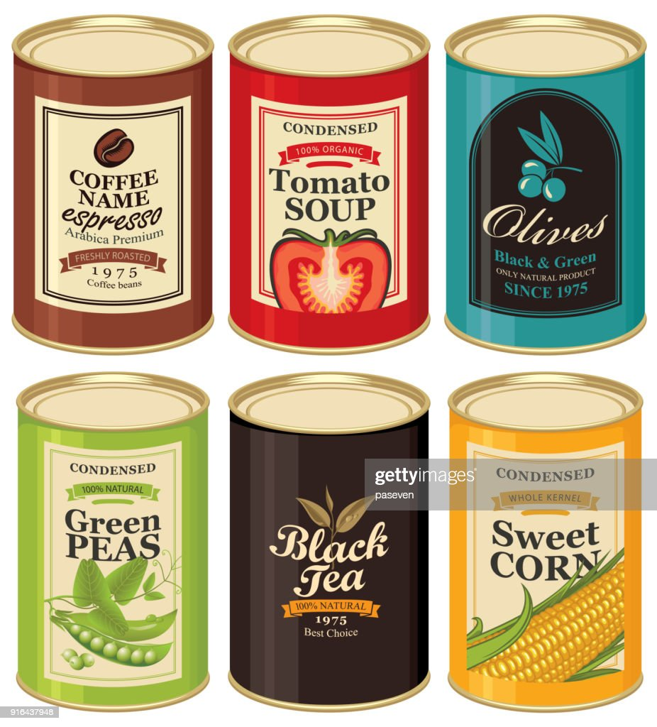 Set vector illustrations of a tin cans with labels