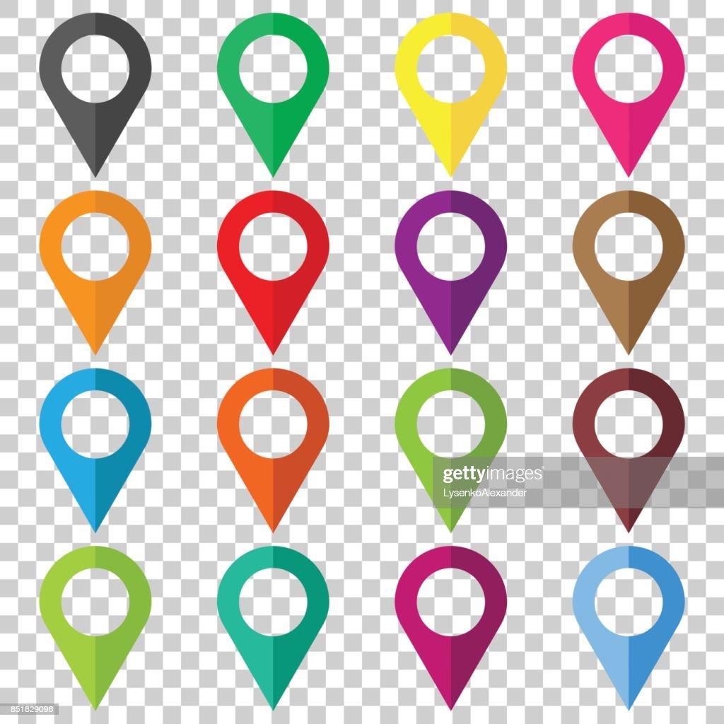 Set vector pin icons. Location sign in flat style isolated on isolated background. Navigation map, gps concept.
