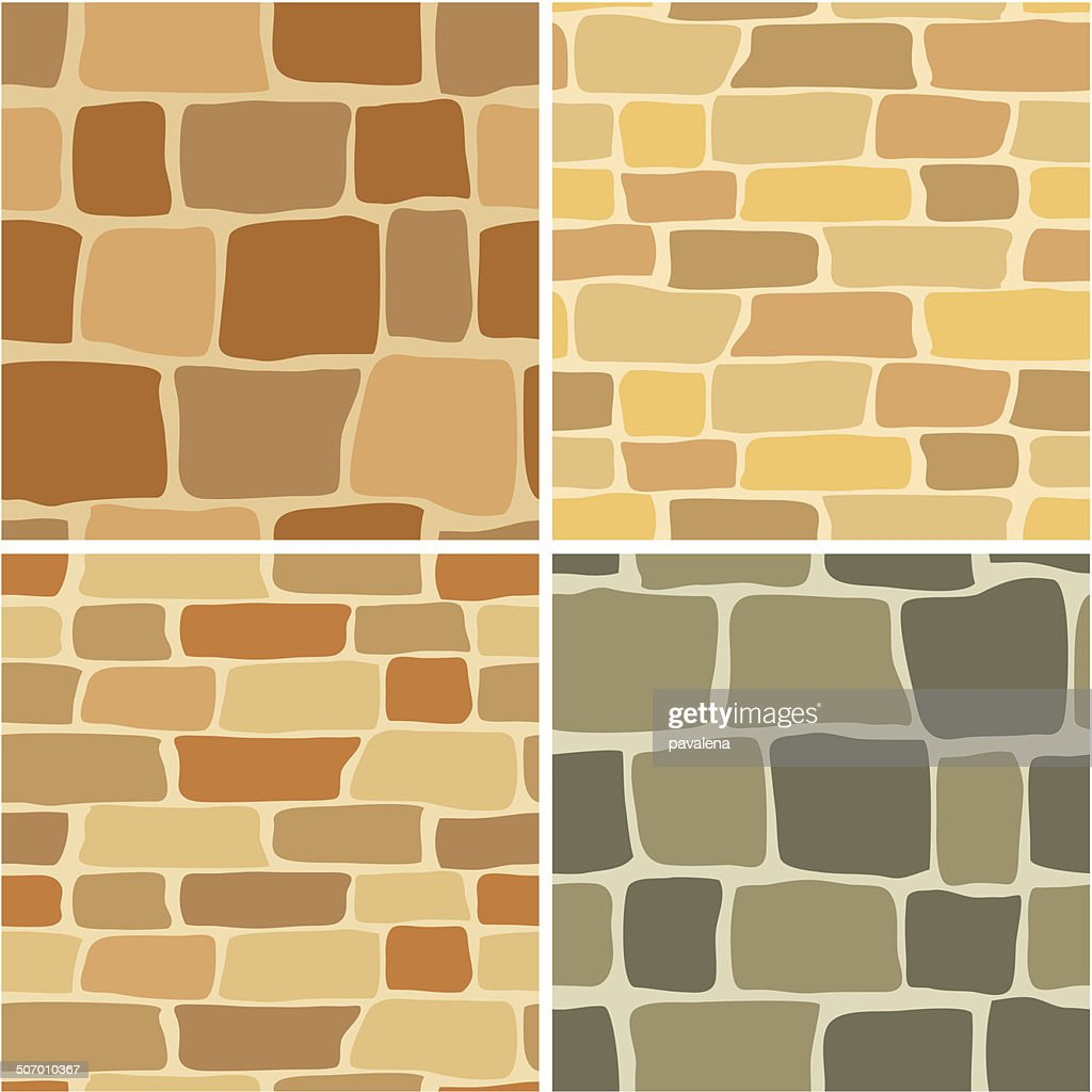 set - vector stone wall - seamless patterns