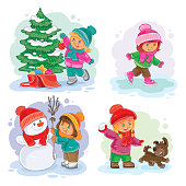 Set vector winter icons with little children