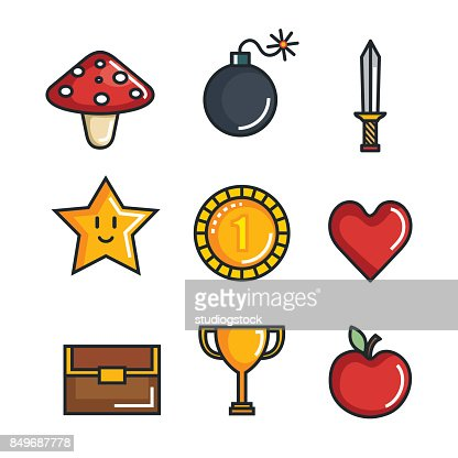 Set Video Game Entertaining Items Symbols Vector Art Getty Images
