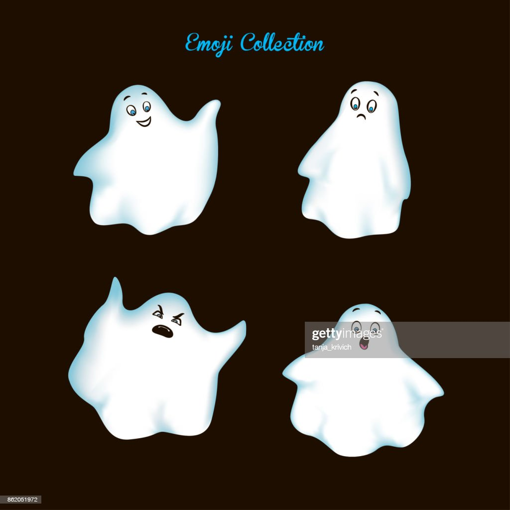 Set vintage emoji ghost