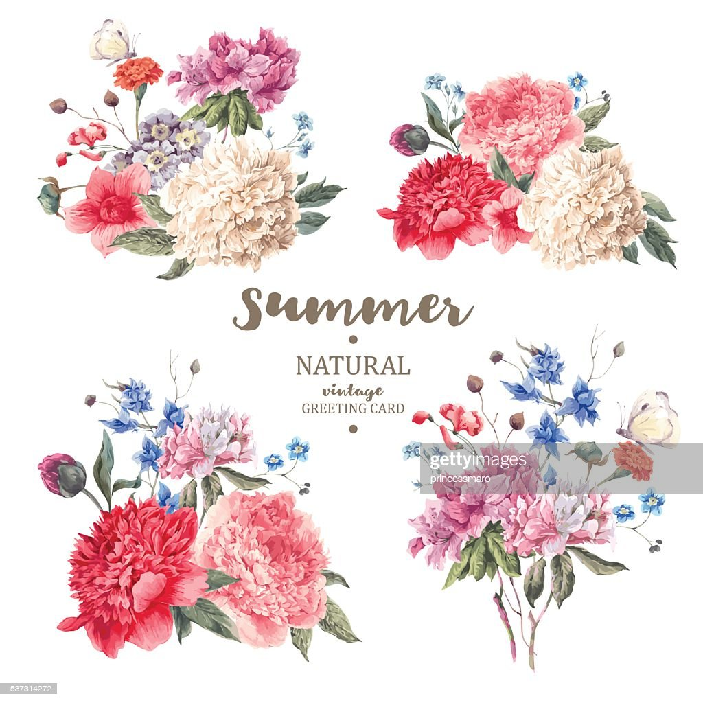 Set vintage floral vector bouquet of peonies