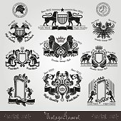set vintage silhouette heraldic labels with pattern and animals, eagle, lion, tiger, leopard, bird, lion head