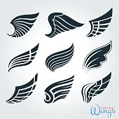 Set vintage wings for design projects.