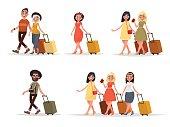 Set walking airplane passengers. Man, woman, friends