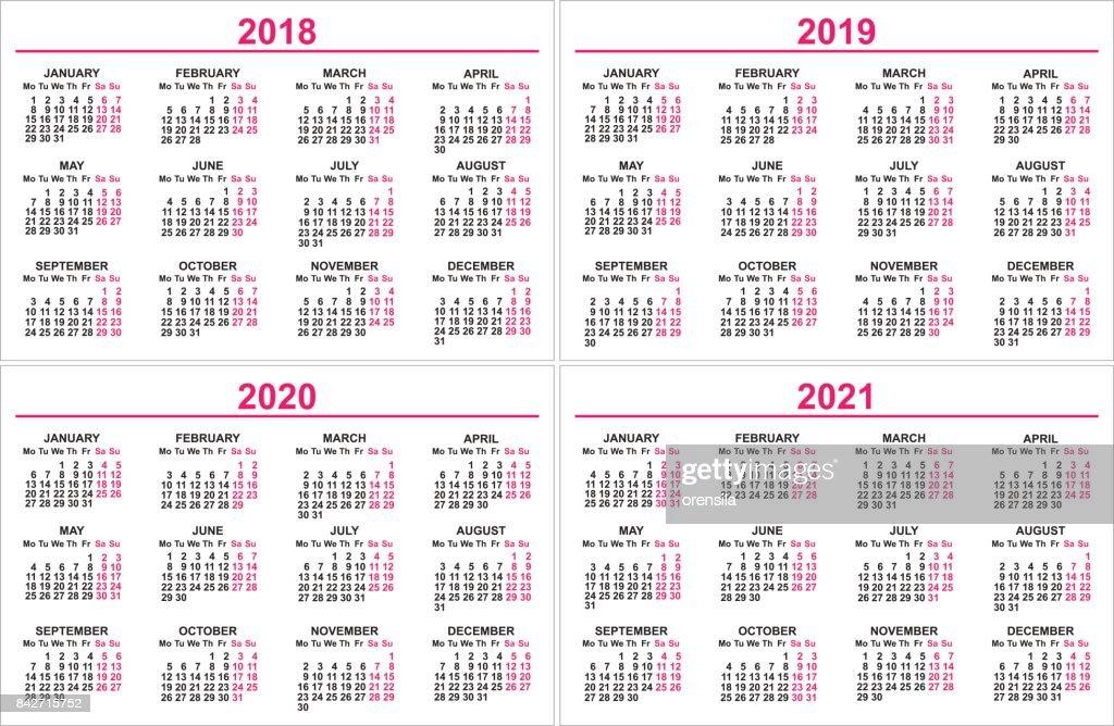 Conjunto De Parede Calendário 2018 2019 2020 2021 Modelo De