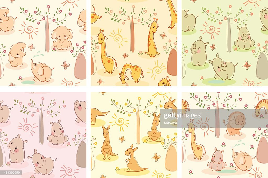 Set wallpaper wild animals.