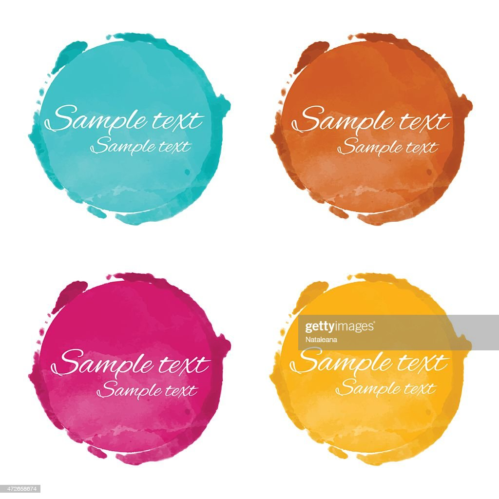 Set watercolor circle paint stains