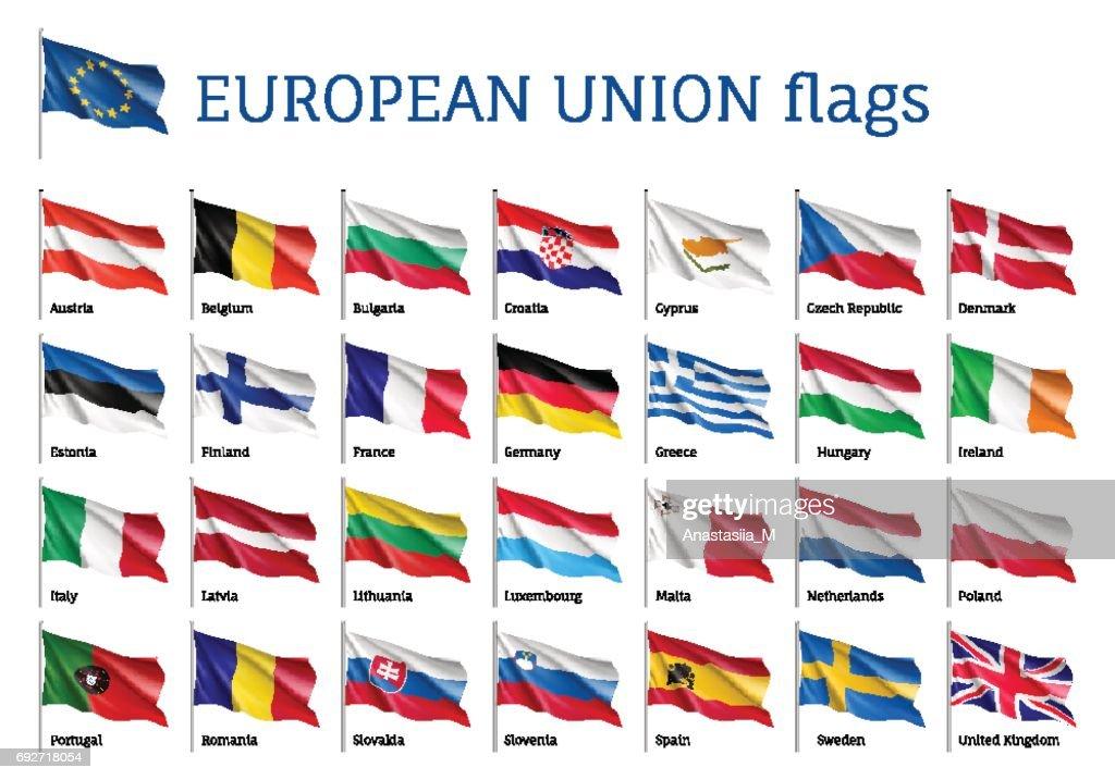 Set waving flags of EU
