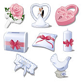 Set wedding accessories isolated on white background. The brides bouquet, figurine newlyweds for car decoration, pink padlock, box, pillow, candle, garter and figure of a dove. Vector illustration