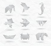 Set white origami animals