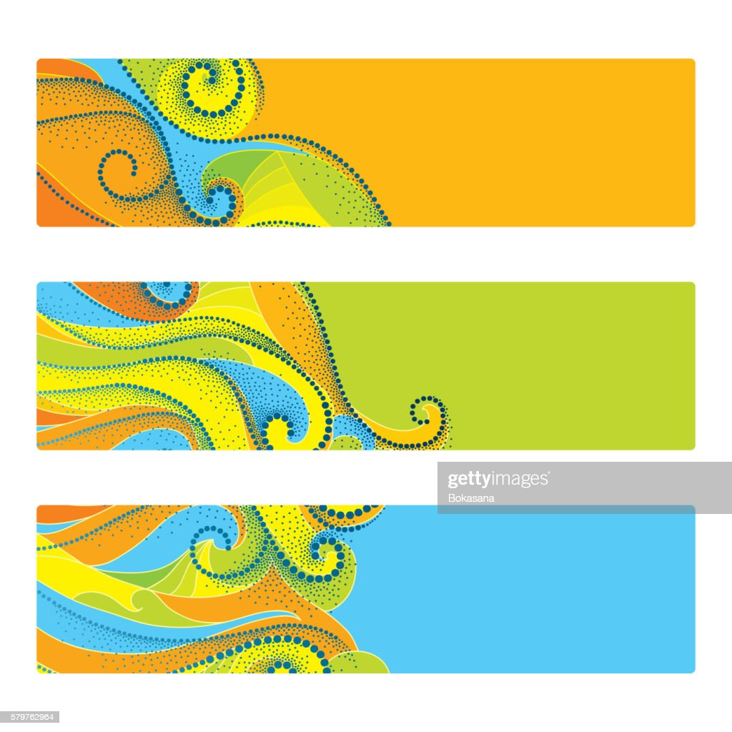 Set with abstract template with dotted swirls isolated on white.
