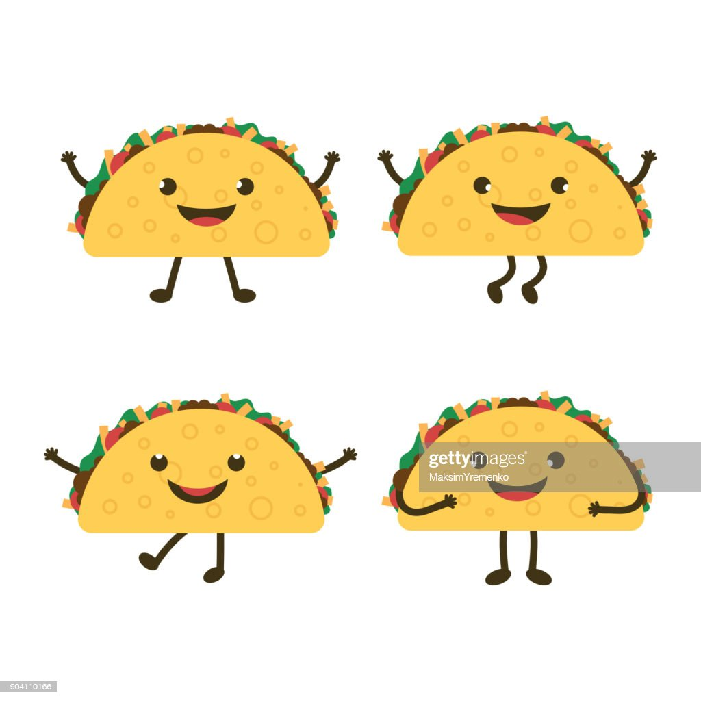 set with cartoon tacos