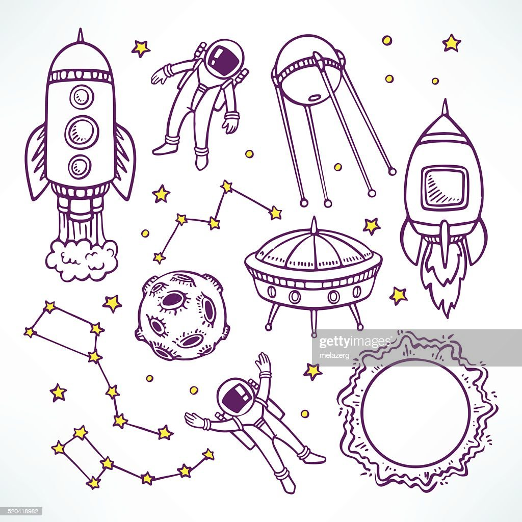 set with cute sketch rockets