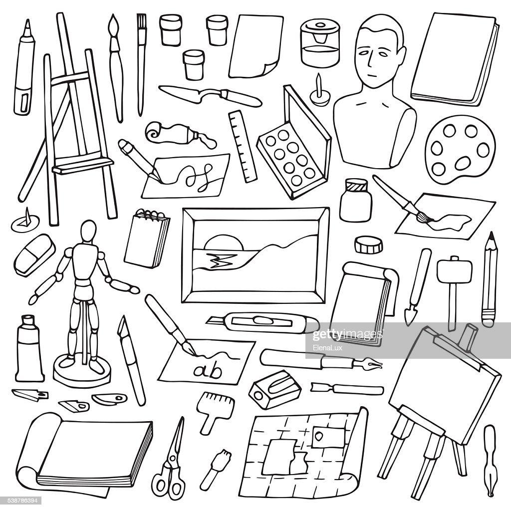 Set with doodle art elements