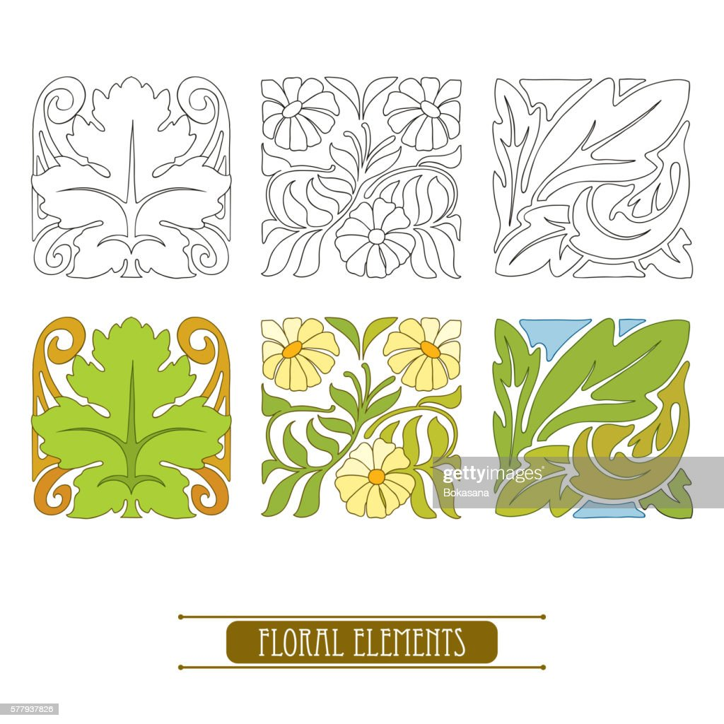 Set with floral elements in Art Nouveau or Modern style.