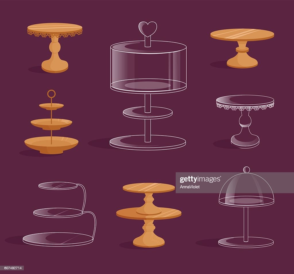 Set with glass and wooden stands for cakes.