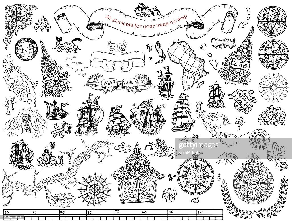 Set with hand drawn elements for treasure hunt and map